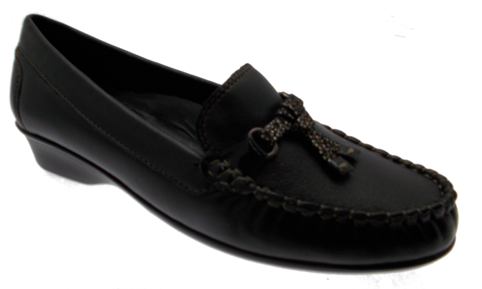 Moccasin classic wedge black leather woman shoe terminal