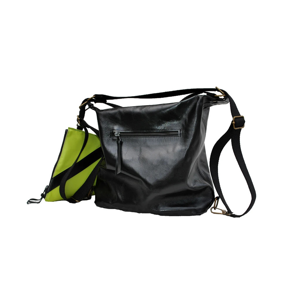 PEONIA 18 Bag that turns into a two-tone black green backpack
