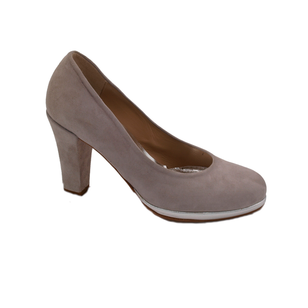Angela Calzature Numeri Speciali special numbers Shoes Grey chamois heel 8 cm