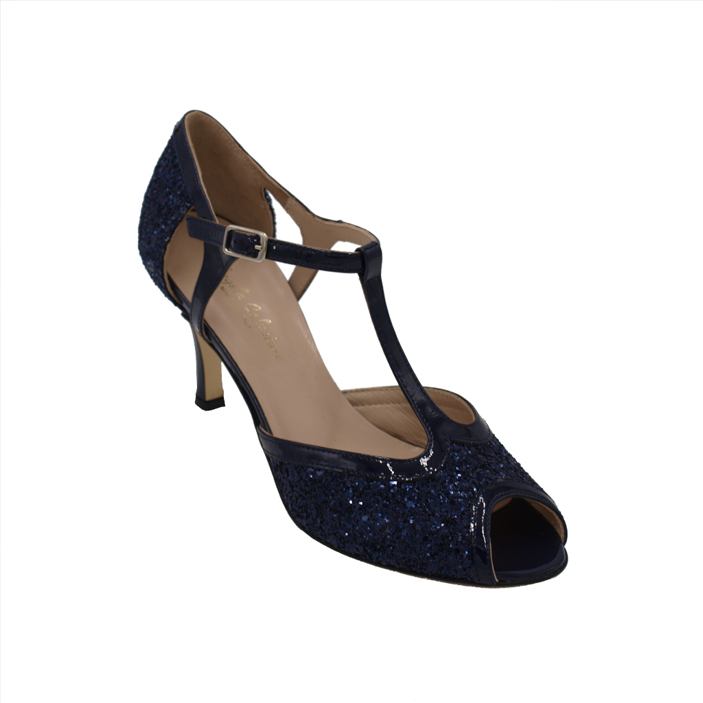 Angela Calzature Sposa e Cerimonia standard numbers Shoes Blue leather heel 7 cm
