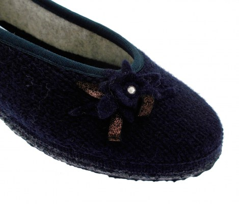 68/10/49155 588 LASSAN paper slipper in blue woolen wool
