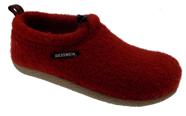 Giesswein VENT 52/10/47849 017  pantofola unisex panno rosso plantare estraibile