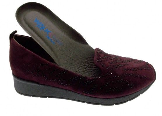 Walk Techno Melluso Scarpa donna  R0042 accollato zeppa bordeaux perline