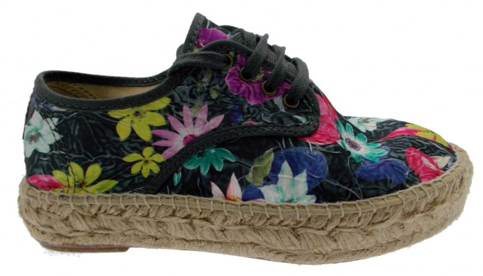 tennis animal free tela nero fantasia fiori vegan espadrillas