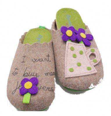 4583 slipper taupe patterned cloth removable plantar