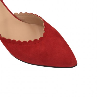 Angela Calzature special numbers Shoes Red chamois heel 6 cm