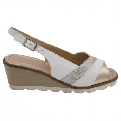 Angela Calzature Numeri Speciali special numbers Shoes Beige leather heel 4 cm