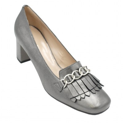 Angela Calzature Numeri Speciali special numbers Shoes Grey leather heel 5 cm
