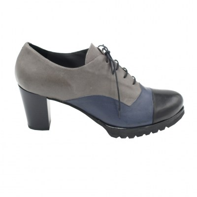 Angela Calzature Numeri Speciali special numbers Shoes Blue leather heel 8 cm