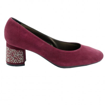 Confort special numbers Shoes bordeaux chamois heel 5 cm