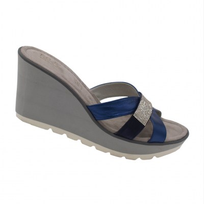 Angela Calzature Numeri Speciali special numbers Shoes Bluette leather heel 8 cm
