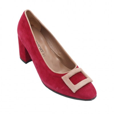 Confort standard numbers Shoes Red chamois heel 4 cm