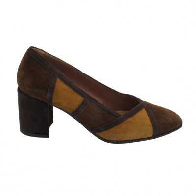 Confort standard numbers Shoes marrone chamois heel 5 cm