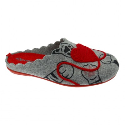 Riposella 4517 slipper in boiled wool cloth heart removable footbed