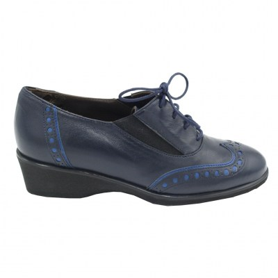Angela Calzature Numeri Speciali special numbers Shoes Blue leather heel 1 cm