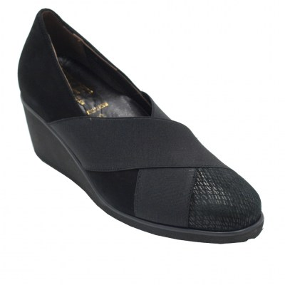 Angela Calzature Numeri Speciali special numbers Shoes black chamois heel 7 cm