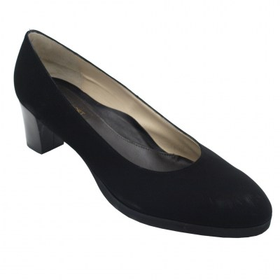 Angela Calzature Numeri Speciali special numbers Shoes black chamois heel 4 cm