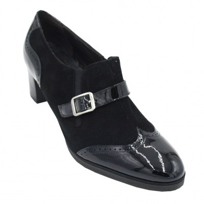 Angela Calzature Numeri Speciali special numbers Shoes black chamois heel 5 cm