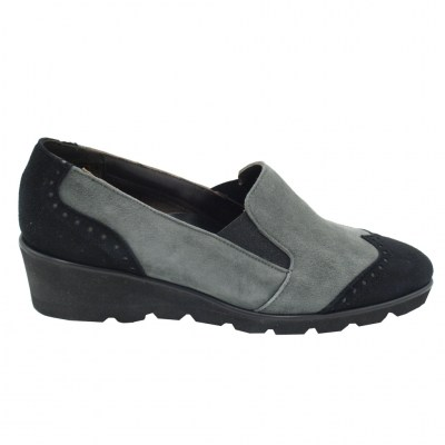 Angela Calzature Numeri Speciali special numbers Shoes Grey chamois heel 3 cm