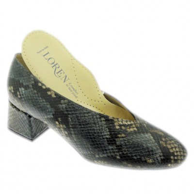 Loren 60904 woman shoe with removable multicolored python orthopedic insole