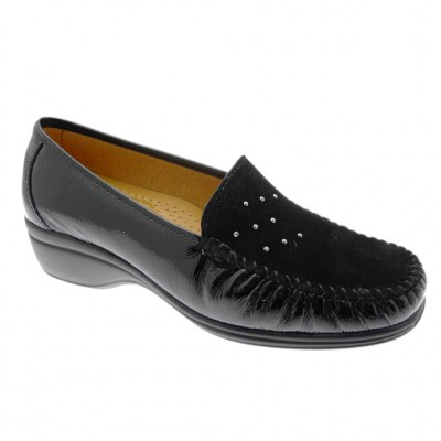 LOREN K4020 soft black moccasin with wedge heel