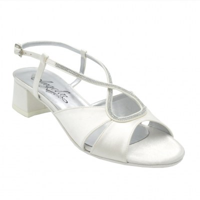 Angela Calzature Sposa e Cerimonia standard numbers Shoes White satin heel 3 cm