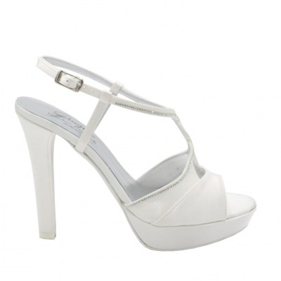 Angela Calzature Sposa e Cerimonia standard numbers Shoes White satin heel 11 cm