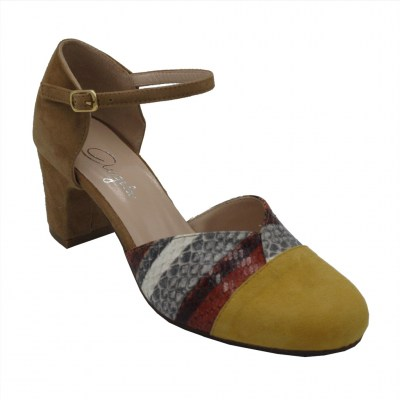 Angela Calzature  Shoes Yellow chamois heel 6 cm