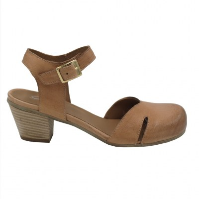 Angela Calzature Mary Jane in pelle colore marrone tacco medio 4-7 cm