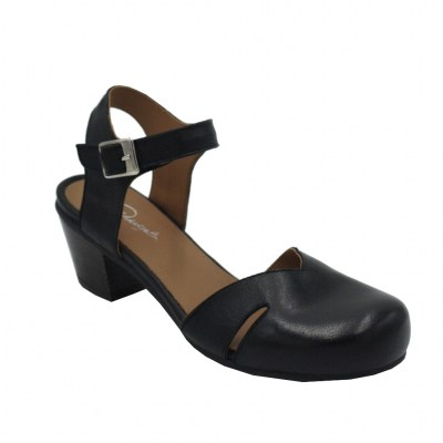 Angela Calzature  Shoes black leather heel 5 cm