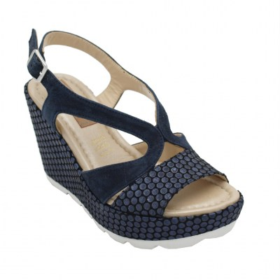Angela Calzature Numeri Speciali  Shoes Blue nabuk heel 9 cm