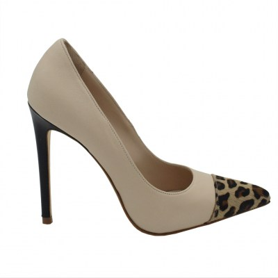 Angela Calzature Numeri Speciali  Shoes Beige leather heel 11 cm