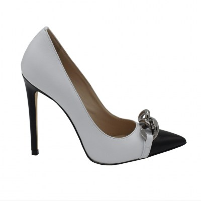 Angela Calzature Numeri Speciali  Shoes White leather heel 11 cm