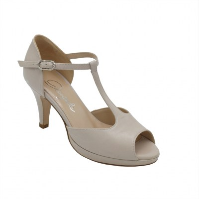Angela Calzature Numeri Speciali  Shoes Beige leather heel 8 cm