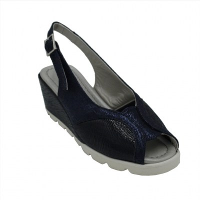 Angela Calzature Numeri Speciali  Shoes Blue leather heel 4 cm