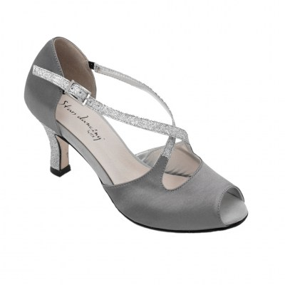 Angela Calzature Ballo standard numbers Shoes Grey Fabric heel 7 cm