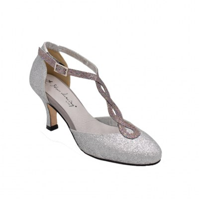 Angela Calzature Ballo standard numbers Shoes Silver Fabric heel 7 cm