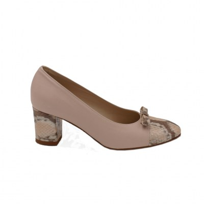 Angela Calzature Numeri Speciali special numbers Shoes Beige leather heel 5 cm