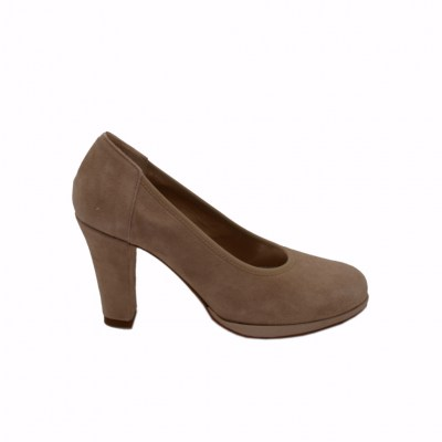 Angela Calzature Numeri Speciali special numbers Shoes Beige chamois heel 8 cm