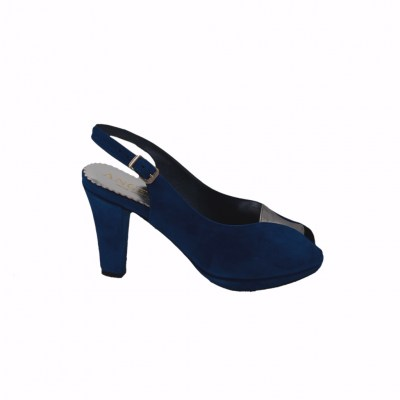 Angela Calzature Numeri Speciali special numbers Shoes Blue chamois heel 8 cm