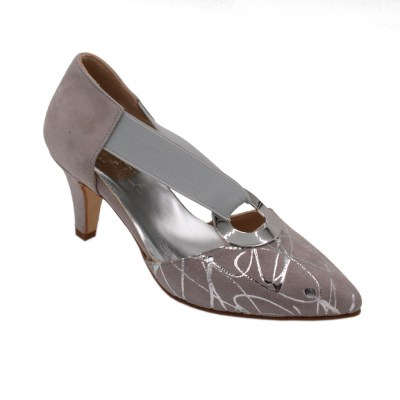 Angela Calzature Numeri Speciali special numbers Shoes Grey chamois heel 6 cm