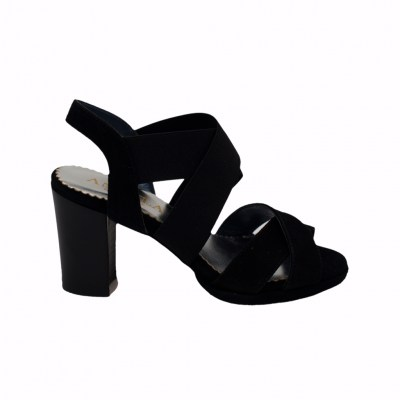 Angela Calzature Numeri Speciali special numbers Shoes black chamois heel 8 cm