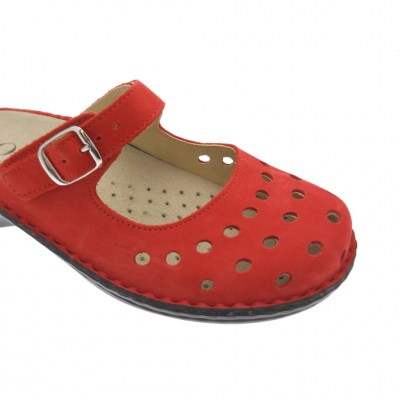 Shoe factory LOREN M2314 red slipper with removable orthopedic plantar holes
