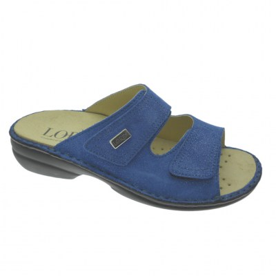 Shoe factory LOREN M2829 orthopedic slipper with adjustable bluette footbed