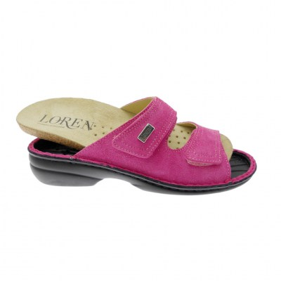LOREN M2829 shoe factory orthopedic slipper with adjustable fuchsia footbed