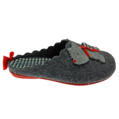 Riposella 4569 gray wool slipper with removable plantar dog footbed