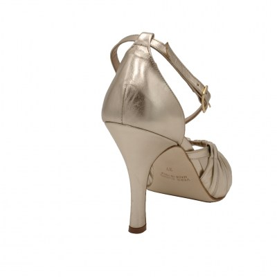 Angela Calzature Sposa e Cerimonia standard numbers Shoes Gold leather heel 8 cm