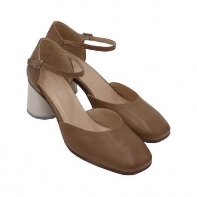 Angela Calzature standard numbers Shoes Beige leather heel 5 cm