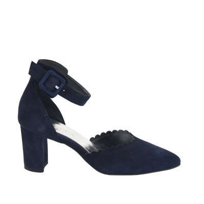 Angela Calzature special numbers Shoes Blue chamois heel 6 cm