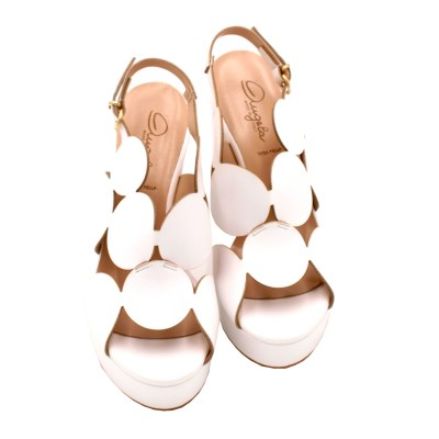 Angela Calzature Sposa e Cerimonia standard numbers Shoes White ecopelle heel 9 cm